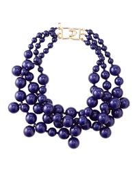 Kenneth Jay Lane | Purple Beaded Cluster Necklace Blue | Lyst