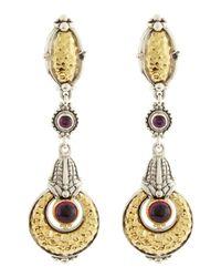 Konstantino | Metallic Aspasia Hammered Oval and Circle Rhodolite Earrings | Lyst