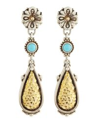 Konstantino | Blue Turquoise and Teardrop Flower Earrings | Lyst
