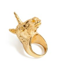 Leivan Kash - Metallic Goldplated Unicorn Ring - Lyst