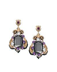 ASOS - Purple Premium Baroque Clip On Jewel Earrings - Lyst