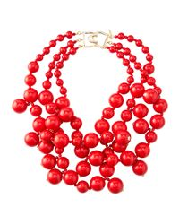 Kenneth Jay Lane | Red Beaded Cluster Necklace | Lyst