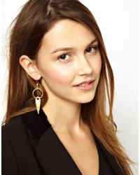 ASOS | Gold Ottoman Hands Small One Stone Pendant Earrings | Lyst