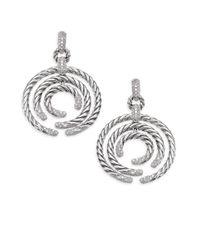 David Yurman - Metallic Willow Round Drop Earrings With Diamonds - Lyst