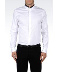 Emporio Armani | White Poplin Shirt with Concealed Buttons for Men | Lyst