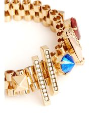 Iosselliani - Metallic Stones And Crystals Embellished Rolex Chain Bracelet - Lyst