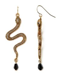 Lauren by Ralph Lauren | Metallic Snake Drop Earrings | Lyst