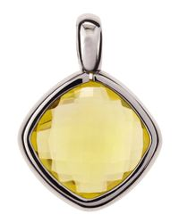 Roberto Coin - Metallic Cushioncut Lemon Quartz Pendant - Lyst
