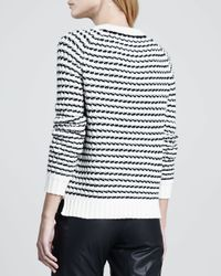 Theory - Black Innis B Striped Knit Sweater - Lyst
