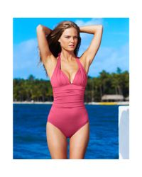 DKNY - Natural Halter Ruched Maillot Onepiece - Lyst