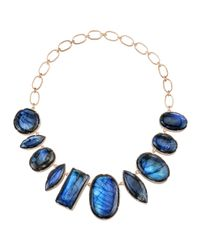 Irene Neuwirth - Blue Cabochon Stone Chain Necklace - Lyst
