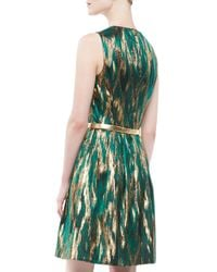Michael Kors - Green Ikat Jacquard Metallic Dress - Lyst