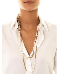 Carolina Bucci - White Freshwater Pearl Gold Long Necklace - Lyst