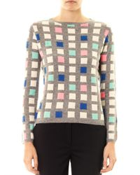 Chinti & Parker | Gray Grid Cashmere Sweater | Lyst