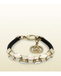 Gucci - Bracelet in Black Leather with Crystals - Lyst