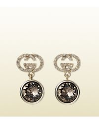 Gucci - Gray Earrings With Grey Beige Crystal - Lyst