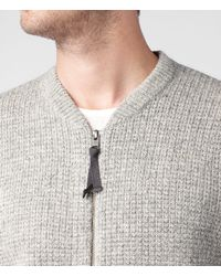 AllSaints   Gray Arden Zip Through Jumper for Men   Lyst
