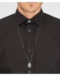 Bottega Veneta - Metallic Intrecciato Oxidized Silver Pendant for Men - Lyst