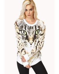 Forever 21 - Black Bold Cat Sweatshirt - Lyst