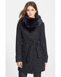 Ivanka Trump | Metallic Faux Fur Collar Tweed Wrap Coat | Lyst