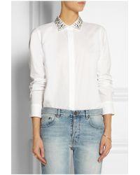 J.Crew - White Boy Embellished-Collar Cotton Shirt - Lyst