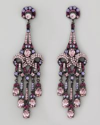 Jose & Maria Barrera - Purple Crystal Drop Earrings - Lyst