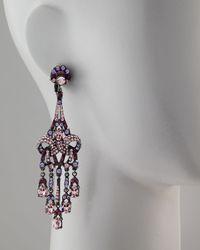 Jose & Maria Barrera | Purple Crystal Drop Earrings | Lyst