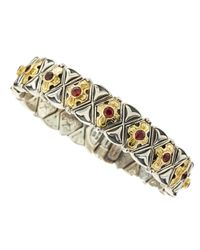 Konstantino | Red Garnet Gold Cross Bracelet | Lyst