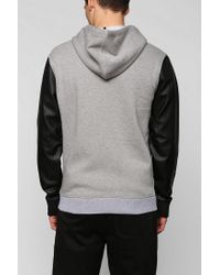 Urban Outfitters - Gray Feathers Vegan-leather Zip-up Hoodie Sweatshirt for Men - Lyst