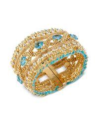 Betsey Johnson   Metallic Gold-tone And Blue Enamel Sea Horse Hinged Bangle Bracelet   Lyst