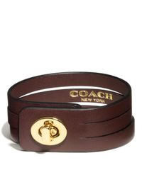 COACH | Brown Bunched Leather Small Turnlock Bracelet | Lyst