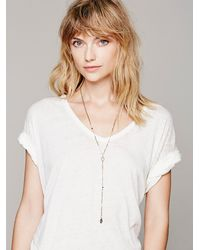 Free People - Metallic Delicate Long Rosary - Lyst