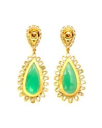 Irene Neuwirth - Handcrafted Oneofakind Yellow Gold Earrings with Mint Chrysorpase Mixed Shape Rose Cut Diamonds - Lyst