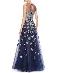 Oscar de la Renta - Blue Petalembroidered Tulle Gown Navy - Lyst