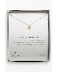 Dogeared | Metallic 'reminder - Friendship' Anchor Pendant Necklace - Sterling Silver | Lyst