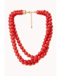 Forever 21 | Red Candycoated Bead Necklace | Lyst
