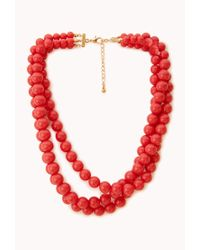 Forever 21 - Red Candycoated Bead Necklace - Lyst
