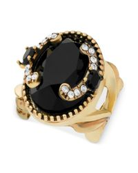 Guess - Metallic Goldtone Jet Stone and Crystal Accent Stretch Ring - Lyst