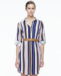Halston - Multicolor Striped Belted Fuji Silk Shirt Dress - Lyst