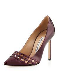 Manolo Blahnik | Red Jabi Woven Patent Leather Pump Bordeaux | Lyst