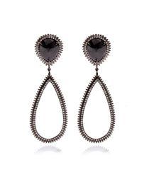 Eva Fehren - 18k Blackened White Gold and Diamond Drop Earrings - Lyst