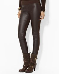 Ralph Lauren | Brown Lauren Faux Leather Leggings | Lyst