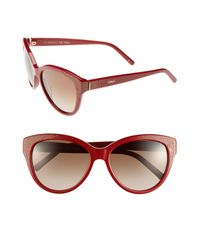 Chloé | Red 'suzanna' 56mm Cat Eye Sunglasses | Lyst