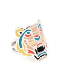 KENZO - Metallic Silver Tone Tiger Ring - Lyst