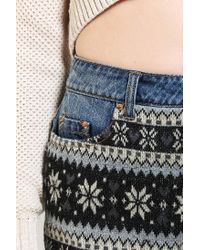 Urban Outfitters | Blue Bdg Sweater mix Denim Cheeky Short | Lyst