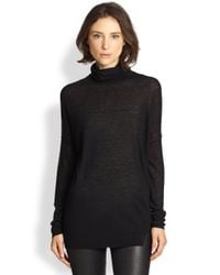 Vince | Black Slub Knit Turtleneck Sweater | Lyst