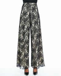 Alice + Olivia - Black Super-Flare Lace Pants - Lyst