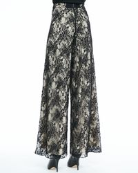 Alice + Olivia - Black Super-Flare Lace Pants - Lyst