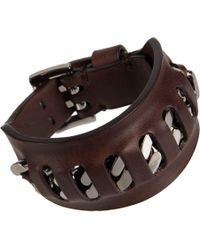 Givenchy - Brown Chain Leather Bracelet - Lyst