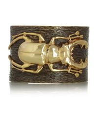Iam By Ileana Makri Metallic Beetle Goldplated Oxidized Brass Cuff